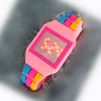 Wholesale Glue Brooch - Children LED fashion watch rainbow children LED electronic glue LED watch factory wholesale
