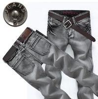 Wholesale Grey Designer Jeans - Wholesale-Top Quality 2016 indoor Designer Men's Denim Trousers Homme Motorcycle jeans Vintage Denim dark Grey Men hip hop Pants