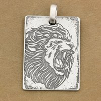 LINSION Deep Engraved High Detail Adesivo 925 Sterling Silver Angry Leone Tag Dog Mens Biker Rocker Punk Pendente 9X010 Just Pendant