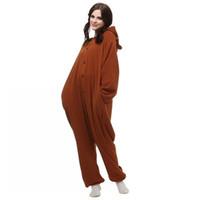 Wholesale Bear Men Costume - dress forms for sewing 2016 Pedo Bear pedobear Brown Bear Soft Pajama Anime Cosplay Costume unisex Adult Onesie Romper Party Sleepwear Dress