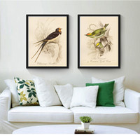 Wholesale abstract lines modern art canvas - 2pcs set (No Frame) Line Drawing Birds Modern Oil Painting On Canvas Giclee Wall Art pictures for Living Room Home Decor