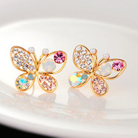 Wholesale Fancy Pearl Earrings - Colorful crytstal rhinestone Pearl butterfly pierced earrings fancy Crystal earrings stud temperament wholesale free shipping