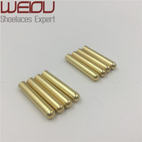 Wholesale Metal Buckled Sneakers - Weiou 4pcs 1 set of 3.8x22mm Seamless Metal Shoelaces Tips Head Replacement Repair Aglets DIY Sneaker Kits Silver gold black