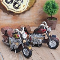 Wholesale Retro Vintage Metal Art - Retro Motorcycle Ornaments Locomotive Mini Kitchen Decor Resin Crafts Coffee Vintage Art Home Furnishings Resin Decor Living Room Decor