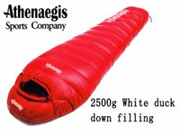 Wholesale Down Light Can - Wholesale- Athenaegis 2500G white duck down filling can be spliced mummy ultra-light winter sleeping bag