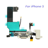Wholesale Iphone5 Connector - New Original Dock Connector USB Charging Port For iPhone 5 5G With Headphone Jack Tail Plug Flex Cable White Black For iPhone5