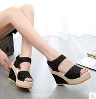Wholesale Korean Wedges - Summer new Korean leisure wild female high-heeled open-toed sandals slope with non-slip heavy-bottomed muffin shoes tide