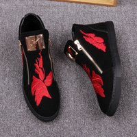 Red Leaves Embriodery Casual Sneakers Black Men Tenis Zapatos High Top Runway Sneakers Zapatos Cremalleras Spring Autumn Sports Male Mocasines Flats