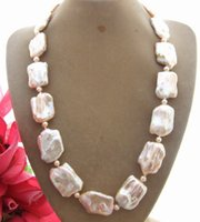 Wholesale 18x25mm Resin - N1412176 18x25mm Natural Pink Keshi Pearl necklace