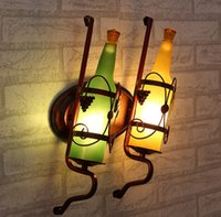 Wholesale Stained Glass Lamps Wholesale - creative Bottle shape led sconce wall lights vintage led wall lamp loft wall light fixtures for bedroom bar hallway indoor LLFA