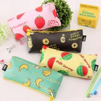 Wholesale Schools Bags Strawberry - Wholesale-candy Banana strawberry watermelon pencil case PU leather school pencil bag for girl stationery estojo escolar school supplies