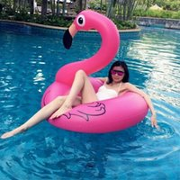 Wholesale 120 cm Holiday Flamingo Swimming Pool floats Laps Pool Party Float Toy Pink Swan Beach Swimming Ring Fast Inflatable Animal Lifebuoy