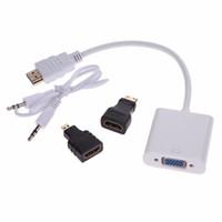 Wholesale Mini Usb Vga Adapter - 1set HD 1080P VGA to HDMI Converter Micro HDMI Cable Cord Mini HDMI to VGA Adapter for Xbox 360 for PS3 PS4 HDTV PC Laptop DVD