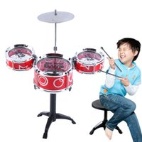 Wholesale Cymbals Children - Wholesale- Children Jazz Drum Toy Gifts Cymbal Sticks Rock Set Musical Hand drum Kids diy funny Educational Simulation Drums Free Shipping