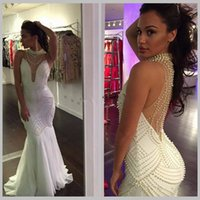 Wholesale Water Pearls Decoration - Evening Party Fascinating White Black Mermaid Prom Dresses Chiffon Evening Gown Pearls Decoration Party Gowns