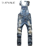 Wholesale denim overall men - Wholesale-2015 European American Style Fashion Men Hip Hop Overalls Pants Skinny Overalls Ripped Jeans Plus Size Denim Jumpsuit 825