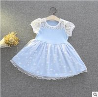 Wholesale Crowning Dress Girls - Cartoon Princess Party Lace Dress Alice Crown TUTU Dress Girl Cartoon Lace Bow Birthday Party Dresses Baby Cotton Tulle Dress 682