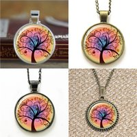 fotos de la vida al por mayor-10 unids Autumn Fall Life Tree Glass Photo Necklace keyring bookmark gemelos pulsera del pendiente