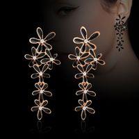 Wholesale Earrings Snowflake Long - Facotry selling artificial full diamond gemstone dangle gold earring fashion jewelry drip snowflake long drop earrings gift for friend