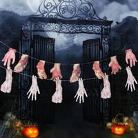 Wholesale Legging Broken - Grisly Halloween Hangings Broken Arms Legs Prank Props Horrible Atmosphere Haunted House Halloween Supplies 2 Patterns 8Pcs 6Pcs