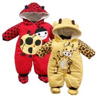 Wholesale leopard jumpsuit costume - Animal Baby Rompers Warmer Hooded Coats Baby Boys Rompers Newborn Jumpsuits Outfits Costume Long Winter Baby Girl Clothes Jacket