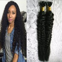 Wholesale Curly Stick Tip Hair Extensions - Peruvian virgin hair kinky curly Pre Bonded fusion human hair u tip 100g 1g strand 100s keratin stick tip human hair extensions Jet Black