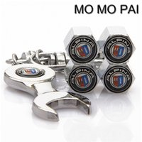 Wholesale Tire Cap Wrench - HOT Car styling 4PCS car wheel tire valve stem air caps with EMBLEM WRENCH FIT FOR DUCATI FORD HAMANN LOTUS MINI BENTLEY BMW