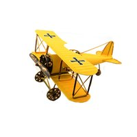 Wholesale Military Aircraft Toys - Vintage Metal Airplane Model Biplane Military Aircraft Home Decor Toy