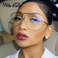 Wholesale Transparent Polarized Glasses - Cool Aviator Sunglasses Versae Men Women Optical Clear Transparent Sunglasses Lens Brand Designer Sun Glasses Celebrity Shades Oculos