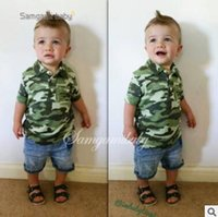 Wholesale Girls Camouflage Shorts - Boys Summer Outfits Set Ins Clothes 2-7Y Boys Cotton Camouflage Tops Denim Shorts Pants Toddler Kids Clothing Boys Casual Boutique Clothing