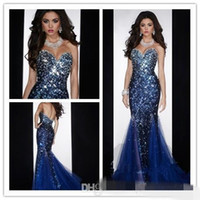 Wholesale Royal Blue Diamond Dresses - Cheap Mermaid Sweetheart Open Back Crystals Beaded Sequined Diamond Organza Prom Gown Royal Blue Evening Dresses with Crystal