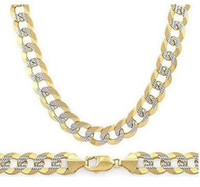 Wholesale Italian Rope Chain - 6.9mm Cuban Curb Sterling Silver 14k Yellow Gold Men Link Italian Chain Necklace