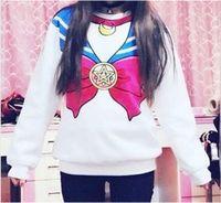 Wholesale Long Spanking - Harajuku Sailor Moon Sweatshirt Kawaii Lolita Pullovers Zipper Spank Cosplay Sailor Costume Hoodies Women Casual Coat