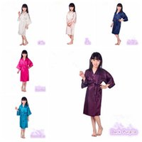 Wholesale Girls Night Gowns - 6 Colors Fashion Children Sleepwear Kid's Solid Silk Kimono Robe for Party Night Gown Pajamas CCA6355 60pcs