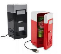 aquecedor de carro usb venda por atacado-Atacado-Mini USB Refrigerador Cooler Car Geladeira Bebidas Latas Cooler / Warmer Geladeira para Laptop PC - USB Powered - Plug and Play