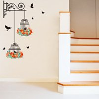Falso metallo Scroll Birdcage Flying Birds Wall Stickers Wallpaper Corridoio decorazioni poster fai da te Home Decor parete Graphic Poster Art rimovibile