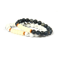 New Stone Jewelry Wholesale 10pcs / lot 8mm White Howlite Weathering Beads De Pedra Com Tibetan Mala Beads Handcrafted Bracelet