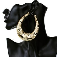 Wholesale Iron Jewelry For Women - fashion Exaggerate iron Hoop earrings for women statement jewelry Decorative pattern big circle earrings for girls wholesale Free shipping