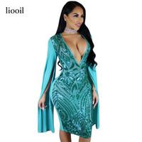 Wholesale Party Wear Dresses Midi - 2017 Geometric Sequin Patchwork Party Dresses Sexy Flare Sleeve Deep V Neck Bodycon Elegant Midi Women Dress Club Wear 17411