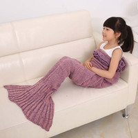 Wholesale Lotus Bedding - mermaid with lotus leaf mermaid blankets keep warm tail fish blankets women sleeping bag bedding warm soft handmade knitted sofa blanket