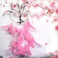 çiçek açan yatak odası toptan satış-Pembe Çiçek Dreamcatcher Hediye Şeftali Çiçeği Tüyler Duvar Asılı Dekorasyon Süs Ile El Yapımı Dream Catcher Net