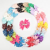 Wholesale Grosgrain Ribbon Hairbows - 564 Fashion 3 inch Baby Girl Grosgrain Ribbon Hair Bows Children Hair Accessories Baby Hairbows Girl Hair polka dots Bows WITH CLIP