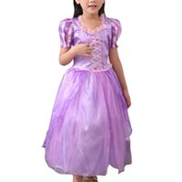 Wholesale Spandex Shorts For Kids - Pretty Girls Purple Dress Praty Skirt Costume For The Kids Stage Magic Fairy Ribbons Princess Dress for Children Clothing