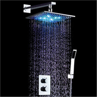 LED Shower Mixer Set squared thermostats - 10 Inch LED Shower Mixer Set Thermostat Faucet Shower Shower Head Powered by Water Square Saving Water Chromed Spout