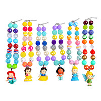 Wholesale Kid Princess Pendants - Childrens' Princess Pendants Necklaces Chunky Bubblegum Beaded Pandent Kids Toddlers Girls Jewelry Birthday Party Gift 6PCS Set 0601238