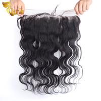Wholesale Fast Shipping Peruvian Virgin Hair - Brazilian Lace Frontal Closure 13X4 Virgin Human Hair Body Wave Unprocessed Malaysian Indian Peruvian Human Hair Top Closure Fast Shipping