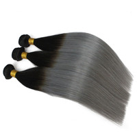 Wholesale Wholesale Gray Weaving Hair - 3pcs lot Brazilian Ombre Hair Weft Two Tone Color 1B 613 1b Gray Blonde Peruvian Straight Human Hair Weaves Sfot Cheap Hair Bundles