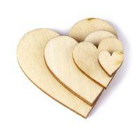 martelo de crianças de plástico venda por atacado-100 Pcs Plain Wood Hearts Hearts Enfeite Coração Em Branco de Madeira Fatias Discos para DIY Enfeites Artesanato (Cor De Madeira)