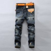 Wholesale Brand Man Jeans - Wholesale-Biker Jeans Men Famous Brand Skinny Denim Pants Vintage Designer Fashion Distressed Jeans High Quality Hip Hop Jean Homme P4