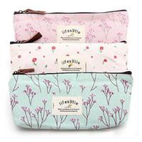 venta bolsa de lona al por mayor-Venta caliente flor Floral Pencil Pen funda de lona cosmética pequeña bolsa de herramientas de maquillaje bolsa de almacenamiento monedero
